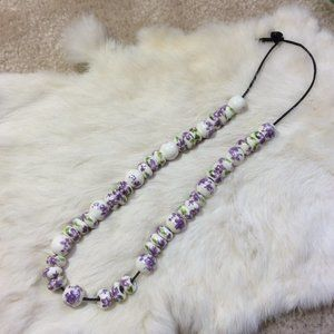 Bold Glass Lavender Floral Beaded Necklace
